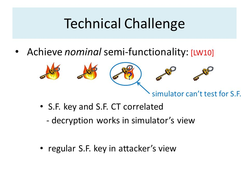 Technical Challenge Achieve nominal semi-functionality: [LW10]